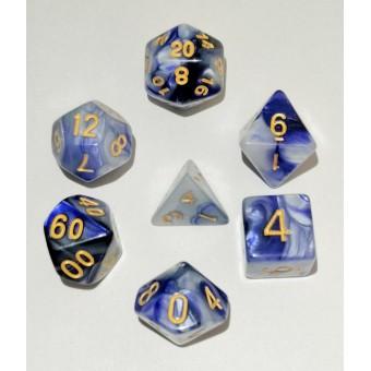 Набор из 7 кубиков для D&D PandaSale: Фиотово-Белый (золотые цифры)