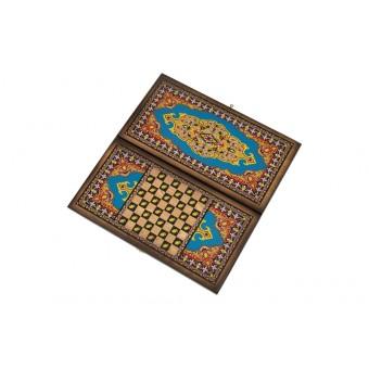 настольная игра Нарды + Шашки Сирия Голубые, большие (Россия, дерево, 60х30х4 см.)
