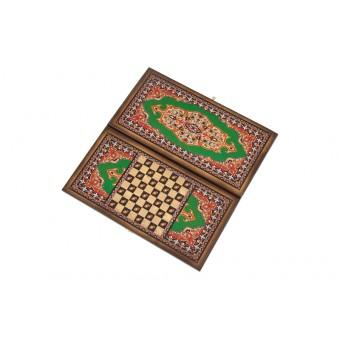 настольная игра Нарды + Шашки Сирия Зеленые, большие (Россия, дерево, 60х30х4 см.)