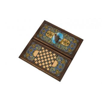 настольная игра Нарды + Шашки Сирия Сокол, большие (Россия, дерево, 60х30х4 см.)