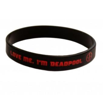браслет силиконовый Дэдпул / Love me. I'm Deadpool (чёрный)