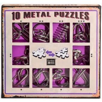 Набор из 10 металлических головоломок (Фиолетовый) / Metal Puzzles purple set