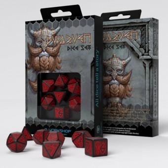 Набор из 7 кубиков Гномьи / Dwarven Dice (черно-красные)