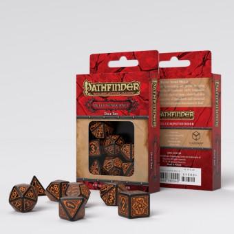 Набор из 7 кубиков Pathfinder Hell's Vengeance (черно-оранжевые)