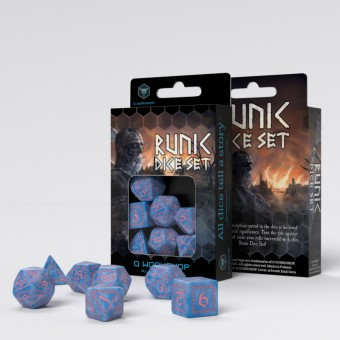 Набор из 7 кубиков Рунические / Runic Dice (голубо-розовые)