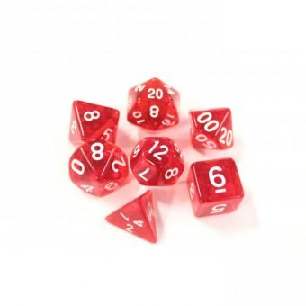 Набор из 7 кубиков для D&D PandaSale: Красный Прозрачный