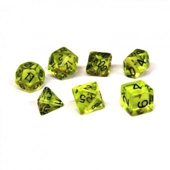 Набор из 7 кубиков для D&D PandaSale: Желтый Прозрачный (чёрные цифры)