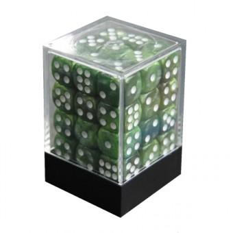 Набор кубиков из 36 штук D6 Мраморный тёмно-зеленый