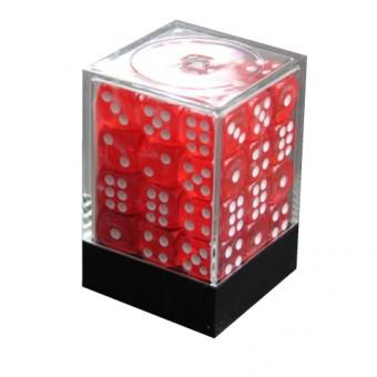 Набор кубиков из 36 штук D6 Прозрачный красный