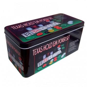 Покерный набор на 200 фишек с номиналом в жестяной коробке