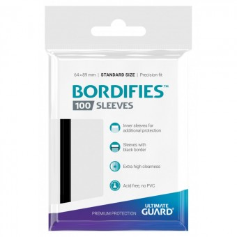 Протекторы Ultimate Guard Bordifies Precise-Fit Black (64 x 89 мм, Perfect Fit, профиты, 100 штук)