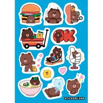 стикеры Stickers.one: Brown Bear / Бурый Медведь (лист А5)