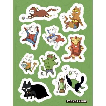 стикеры Stickers.one: Котики-супергерои (лист А5)