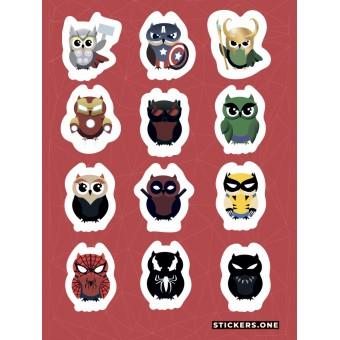 стикеры Stickers.one: MARVOWL / Совы-супрегерои (лист А5)
