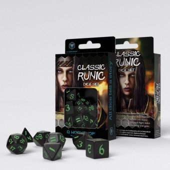 Набор из 7 кубиков классические резные / Classic Runic Dice Set (черно-зеленые)
