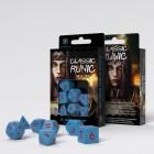 Набор из 7 кубиков классические резные / Classic Runic Dice Set (голубо-красные)
