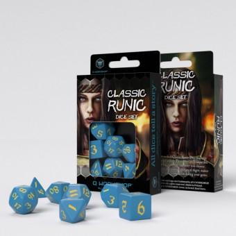 Набор из 7 кубиков классические резные / Classic Runic Dice Set (голубо-желтые)