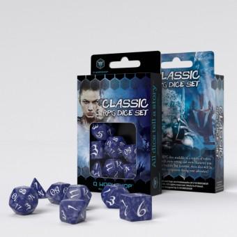 Набор из 7 кубиков для РПГ классические / Classic RPG Dice Set (кобальтово-белые)