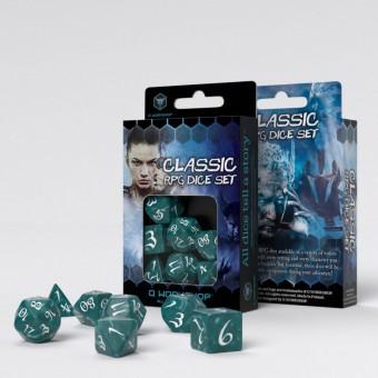 Набор из 7 кубиков для РПГ классические / Classic RPG Dice Set (бирюзово-белые)