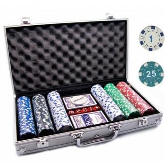 Покерный набор 300 фишек с номиналом в алюминиевом кейсе