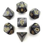 Набор из 7 кубиков для D&D: Мраморный-Чёрный (золотые цифры)