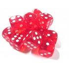 Кубик D6 Красный, прозрачный (16 мм.)