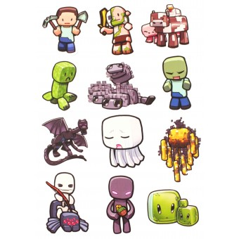 стикеры Майнкрафт Животные / Minecraft Animals (лист А5)