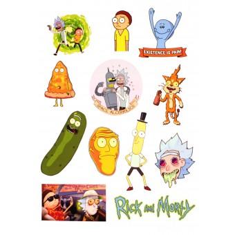 стикеры Рик и Морти / Rick and Morty (вариант 1, лист А5)