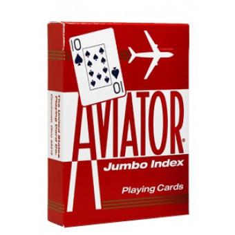 карты для покера Aviator. Покерный размер, большой индекс (красные)