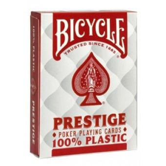 карты для покера Bicycle Prestige 100% пластик (красные)