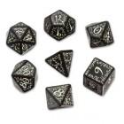 Набор из 7 кубиков Эльфийские / Elven Dice (чёрно-белые)