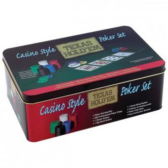 Покерный набор на 200 фишек с номиналом в металлической коробке Casino Style