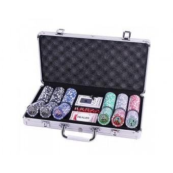 Покерный набор на 300 фишек с номиналом в металлическом кейсе