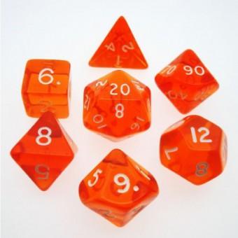Набор из 7 кубиков для D&D: Оранжевый Прозрачный