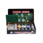 Покерный набор на 300 фишек с номиналом в жестяной коробке