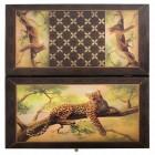 настольная игра Нарды + Шашки Смоленские Леопард, большие (дерево, 60х60х2 см.)