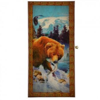 настольная игра Нарды + Шашки Смоленские Медведь с рыбой, большие (дерево, 60х60х2 см.)
