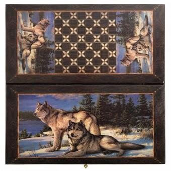 настольная игра Нарды + Шашки Смоленские Два Волка, большие (Россия, дерево, 60х30х4 см.)