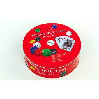 Покерный набор на 240 фишек с номиналом в круглой жестяной коробке
