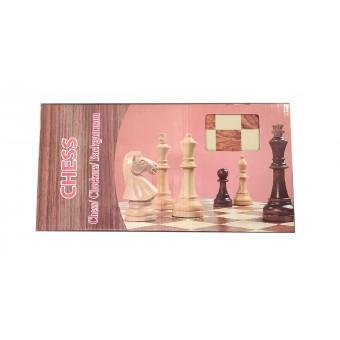 настольная игра Шахматы, Шашки, Нарды Магнитные, большие (дерево, 48х48х2,5 см.)